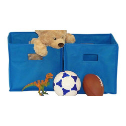 River Ridge - Folding Storage Bin in Blue - Set of 2 - Set of 2. Open cut out handles. Bins can be fold flat. Can be used in the kids room, family room and play room. Made from non woven polypropylene and paperboard. Assembly required. 10.5 in. L x 10.5 in. W x 10 in. H (2 lbs.)Large capacity - store and organize toys, games, art and craft supplies, clothes and more. Versatile storage - sit on the floor, put on a shelf, in the closet, on a bookcase or desk.