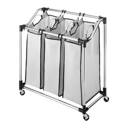 None - Whitmor Chrome Mesh 3-Bag Laundry Sorter - Keep your laundry organized and off of the floor with this convenient rolling chrome laundry sorter. Each of the three white mesh bags that are part of this piece lift out of the frame for easy transportation to the laundry room.
