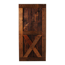 Big Sky Barn Doors - Gallatin Door, Finished, 38x85 - Tha Gallatin Door has a tradition upper secition combined with a lower crossbuck, handcrafted from reclaimed Montana barnwood. Each Big Sky Barn Door is shipped completely assembled and ready to hang.     Due to the nature of antiqued reclaimed lumber, each door is unique in character and appearance.  Colors might vary slightly as well as wood grains, knots, nail holes, etc... Every door is handcrafted and inspected for quality assurance.    Hardware is not included.