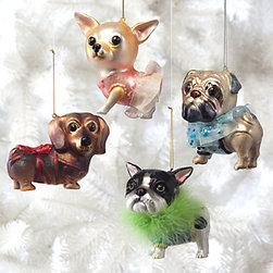 Dog Ornaments - Bow wow! Who doesn't love a little pup on their tree? These are perfect for the dog lover. Hang one of these little pooches on a branch to add some punchy personality to your Christmas tree.