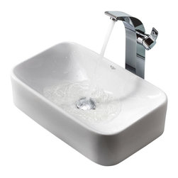 Kraus - Kraus C-KCV-122-14700CH White Rectangular Ceramic Sink and Illusio Faucet - Add a touch of elegance to your bathroom with a ceramic sink combo from Kraus