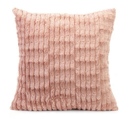 iMax - iMax Gemma Faux Fur Pillow X-64607 - In a blushing pink hue, the faux fur Gemma pillow adds a soft touch of color to any home.