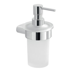 Gedy - Frosted Glass Soap Dispenser With Chrome Mounting - Round wall mounted liquid soap dispenser with hand pump.