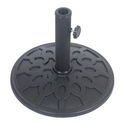 Bond Manufacturing - 8 Kg Resin Umbrella Base - Made of Resin. Umbrella pole holder 10.63 in. H. Adjustable inserts allow for varying pole diameters. 1 year warranty. 16.9 in. L x 16.9 in. W x 2.1 in. H (17.6 lbs.)The 17 lbs. Envirostone Umbrella base combines a timeless design with the versatility of environmentally friendly materials.  The umbrella weight is 100% rust proof so you'll never need to worry about it staining your deck or patio.