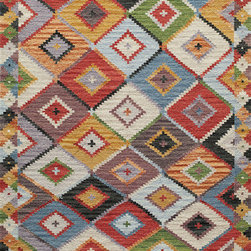 """Caravan CAR-1 Multi Rug - 2'3""""x8' - Bright fun colors give a modern twist to the traditional kilim patterns found in the Caravan Collection. Hand woven in India of 100% wool these rugs are reversible and durable."""