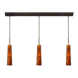 Besa Lighting - Besa Lighting 3BV-567418-HAL Camino 3 Light Halogen Linear Pendant - Camino is a softly tapered narrow cylinder, creating a refined contemporary look. Our Amber Cloud glass is full of floating, vibrant warm tones that range from light gold to deep amber. When lit, the humid color palette illuminates to exude a harmonious display. This decor is created by rolling molten glass in small bits of brown hues called frit. The result is a multi-layered blown glass, where frit color is nestled between an opal inner layer and a clear glossy outer layer. This blown glass is handcrafted by a skilled artisan, utilizing century-old techniques passed down from generation to generation. Each piece of this decor has its own artistic nature that can be individually appreciated. The cord pendant fixture is equipped with three (3) 10' SVT cordsets and a 3-light bar canopy.Features: