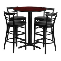 """Flash Furniture - 24"""" Round Mahogany Laminate Table Set with Metal Bar Stools - Black Seat - No need to buy in pieces, this complete Bar Height Table and Stool set will save you time and money! This set includes an elegant Mahogany Laminate Table Top, X-Base and 4 Metal Ladder Back Bar Stools. Use this setup in Bars, Banquet Halls, Restaurants, Break Room/Cafeteria Settings or any other social gathering. Mix in Bar Height Tables with standard height tables for a more varied seating selection. This Commercial Grade Table Set will last for years to come with its heavy duty construction."""
