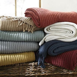 """Austin Shaker-Knit Throw, 50 x 60"""", Ochre - When the weather turns cool, wrap up in our deliciously soft, cozy throw. Knit in chunky Shaker ribs and edged by hand with twisted fringe, it adds texture and warmth to the sofa, bed or your favorite reading chair. 50 x 60"""" Made from soft acrylic yarn. Yarn dyed for vibrant, lasting color. Detailed with a hand-knotted fringe. Machine wash. Imported."""