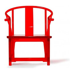"""Red Quan Chair - The """"Quan"""", or Round-Backed Armchair the most splendid of classical Ming furniture, which using clean-cut lines and fine production skill, creates the ultimate balance of simplicity and elegance. This version of the Quan recreated strikingly in red pays tribute to the immeasurable contributions of those of the chair's creation."""