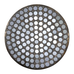Uttermost - Uttermost Ramses Rustic Metal Mirror - Ramses Rustic Metal Mirror by Uttermost Made Of Rustic Metal Finished With A Heavy Gray Wash Over Antiqued, Gold Leaf Undertones Encasing Over 120 Small, Round Mirrors.
