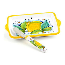Artistica - Hand Made in Italy - Limoni: Butter Dish and Spreader Set - Limoni Collection: