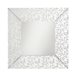Scroll Beveled Mirror - This distinctive Scroll Mirror features delicate, frosted detailing and a Clear finish to create an elegant statement.