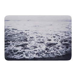 "KESS InHouse - Leah Flores ""Out to Sea"" Gray Coastal Memory Foam Bath Mat (17"" x 24"") - These super absorbent bath mats will add comfort and style to your bathroom. These memory foam mats will feel like you are in a spa every time you step out of the shower. Available in two sizes, 17"" x 24"" and 24"" x 36"", with a .5"" thickness and non skid backing, these will fit every style of bathroom. Add comfort like never before in front of your vanity, sink, bathtub, shower or even laundry room. Machine wash cold, gentle cycle, tumble dry low or lay flat to dry. Printed on single side."