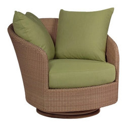 Woodard - Whitecraft by Woodard Oasis Swivel Lounge Chair - S507015 - Shop for Chairs and Sofas from Hayneedle.com! Turn your backyard into your own private oasis with the Whitecraft by Woodard Oasis Swivel Lounge Chair. This comfortable horseshoe lounger is perfect for lazing the afternoon away under the hot summer sun with a swivel base that can provide a gentle back-and-forth rocking motion. Or if you should decide to generously invite others into your private retreat the swivel base also makes this chair ideal for repositioning to be able to move between conversations or to get up to refill drinks or see guests in from or to the door. A design that stretches back over 500 years to the Ming dynasty the horseshoe-style chair came very much en vogue in nineteenth-century England with its gracefully sloping semicircular back and arms and has remained a staple of furniture decor in the Western world ever since. The attractive hand-woven wicker available in a choice of colors also recalls the tropical Egyptian and Persian roots of this material inflecting your outdoor living space with a constant spot of sunshine. The plush seat and back cushions can be tailored to your personal tastes through a choice of fabric grades and colors and optional trim upgrades. And the aluminum frame provides a strong durable base that is still lightweight enough to be moved around your patio.Woodard: Hand-crafted to Withstand the Test of TimeFor over 140 years Woodard craftsmen have designed and manufactured products loyal to the timeless art of quality furniture construction. Using the age-old art of hand-forming and the latest in high-tech manufacturing Woodard remains committed to creating products that will provide years of enjoyment.Superior Materials for Lasting DurabilityAll Seasons Outdoor Wicker is the latest addition to the Woodard line of quality furniture. Each piece is constructed using cutting-edge synthetic fibers hand-woven over an aluminum frame. With this combination of