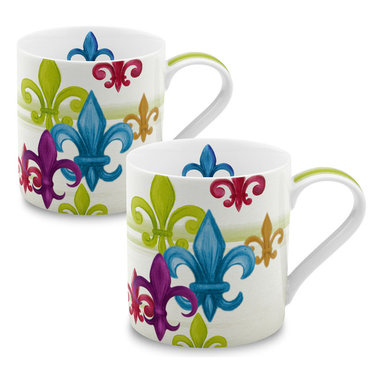 Konitz - Set of 2 Mugs Fleur de Lis - The Fleur de Lis, a stylized lily, graces the exterior of this stately mug. Often seen as a symbol of France, the iconic fleur-de-lis appears here in a variety of sizes and colors.