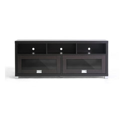 Wholesale Interiors - Swindon Modern TV Stand with Glass Doors - Sleek sliding overhead-style glass doors and plentiful storage are the trademarks of the handsome Swindon TV Stand. The entertainment center is made of lapped chipboard with dark brown paper veneer, silver tone hardware, and includes openings in the rear for easy cable management. Clean the TV unit easily with a damp cloth. Made in Malaysia, assembly is required.