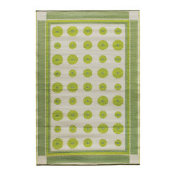 KOKO - Dots Floormat - 4' x 6' - Plantain - Dot's nice! Bright polkas against a neutral background sit tidily within their border — a pleasing design for any casual space. Enjoy the look and the easy care — simply hose clean and drip dry.