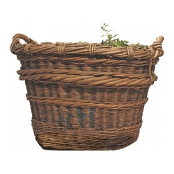 French Harvest Basket - Grape Harvesting Basket- French, Traditional winemakers grape harvesting basket used in the vineyards in France. Excellent shape for age and use-  early 1900's
