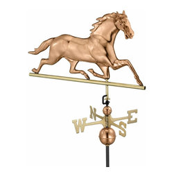 G.D. - Good Directions Horse Weathervane - Polished Copper - Head held high, this elegant thoroughbred is a common weathervane design from 1850. Now he's rearing to grace the rooftop of your house, barn, garage, or cupola. Our Good Directions' artisans use Old World techniques to handcraft this fully functional, standard-size weathervane that's unsurpassed in style, quality and durability. A great gift for horse enthusiasts!