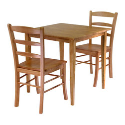 Winsome - Winsome Groveland Square 3 Piece Square Dining Set in Light Oak - Winsome - Dinette Sets - 34330 - Simple relaxed and straight-forward describe this Shaker-style dining table. The casual design will go with many styles of decor and will easily accommodate up to four chairs.