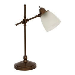 Enchante Accessories Inc - Home Design Antique Bronze Pivot Desk Lamp with Frosted White Glass Shade - Antique bronze finish
