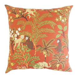 """The Pillow Collection - Fiametta Foliage Pillow, Spice 20"""" x 20"""" - Liven up your living space with this modern and chic accent pillow."""