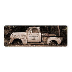 The Vintage Sign Store - Nashville or Bust Steel Sign - Nashville or Bust Vintage Metal Sign Rusted Truck Ford 24 X 8 Steel Not Tin. From the Angie Daniel licensed collection, this Nashville or Bust metal sign measures 24 inches by 8 inches and weighs in at 2 lb(s). This metal sign is hand made in the USA using heavy gauge american steel and a process known as sublimation, where the image is baked into a powder coating for a durable and long lasting finish. This metal sign is drilled and riveted for easy hanging.