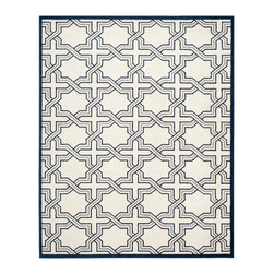 Safavieh - Amad Indoor-Outdoor Rug, Ivory/Navy - Construction Method: Power Loomed. Country of Origin: Turkey. Care Instructions: Easy To Clean. Just Rinse With A Garden Hose. Coordinate indoor and outdoor living spaces with fashion-right Amherst all-weather rugs by Safavieh. Power loomed of long-wearing polypropylene, beautiful cut pile Amherst rugs are made to stand up to tough outdoor conditions, but designed with the aesthetics of indoor rugs. Use these family-friendly geometric designs on patios, in kitchens, busy family rooms and other high traffic rooms.