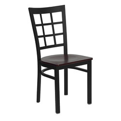 Flash Furniture - Flash Furniture Hercules Series Black Window Back Metal Restaurant Chair - Provide your customers with the ultimate dining experience by offering great food, service and attractive furnishings. This heavy duty commercial metal chair is ideal for restaurants, hotels, bars, lounges, and in the home. Whether you are setting up a new facility or in need of a upgrade this attractive chair will complement any environment. This metal chair is lightweight and will make it easy to move around. This easy to clean chair will complement any environment to fill the void in your decor. [XU-DG6Q3BWIN-MAHW-GG]