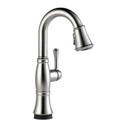 Delta Faucet - Cassidy Pull-Down Bar Faucet Arctic Stainless - 9997T-AR-DST Cassidy Touch 1-Handle Pull-Down Sprayer Bar Faucet in Arctic Stainless