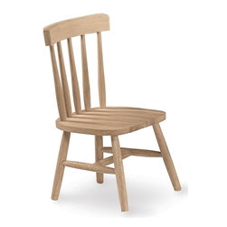 International Concepts - Kids Unfinished Wood Chair - Set of 2 - Great for activity time, reading or simply relaxing, this tot's chair has a traditional design and kid-sized proportions. Five-slat back design promotes comfort, while solid wood construction ensures long-lasting durability. Your purchase includes 2 chairs. Set of 2. Made of Solid Parawood. No assembly required. 13 in. W x 11 in. D x 23 in. H (16 lbs.)