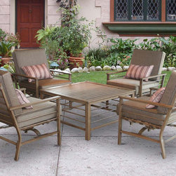 "Jeco - 5pc Forby Conversation Set - ""Elegant curves enhance the contemporary styling and while providing comfortable seating for relaxing backyard conversations."