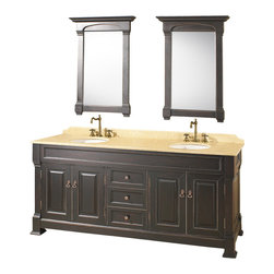 "Wyndham - Andover 72"" Traditional Double Bathroom Vanity Set - Antique Black - A new edition to the Wyndham Collection, the beautiful Andover bathroom vanity series represents an updated take on traditional styling. The Andover is a keystone piece, with strong, classic lines and an attention to detail.; The vanity and solid marble countertop are hand carved and stained. Available in Black and Dark Cherry finishes to match any decor. Available in a range of single or double vanity sizes to fit any bathroom.; Antique Black Finish; Includes Solid Marble Counter - Ivory; Includes White Porcelain Basins; Includes Backsplash; Includes Matching Mirrors; Fits 72 inch space; Faucets not included; Constructed of environmentally friendly, zero emissions solid oak wood, engineered to prevent warping and last a lifetime; Dimensions: Vanity 72 x 23 x 35; Mirror 28 x 41"