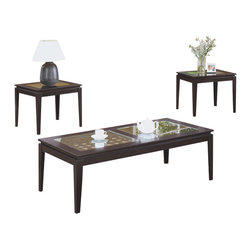 Monarch Specialties - Monarch Specialties I 7911P Cappuccino 3 Piece Coffee Table Set - This modern three piece occasional table set is perfect for your living room decor. Smooth tapered legs and a dark cappuccino finish will absolutely enhance the warm ambiance of any space. A frame is highlighted with two glass inserts placed over a contemporary pattern for a peekaboo effect. Adding texture and depth to the pieces, the interlaced lattice panel, inserted below the glass panes is a one of a kind look. Cocktail Table (1), End Table (2)
