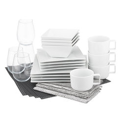 Platform Carbon Starter Set - After living with several roommates, many renters lose track of communal items, such as cookware and kitchen essentials. This dinnerware set is a great starter set and can easily change its style with festive napkins, chargers and silverware.
