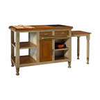French Heritage - Gourmet Kitchen Island, Grey - Make any home a castle with this gourmet kitchen organizer. Painted finishes highlight beautiful wood, with plenty of storage, marble and cutting board too!