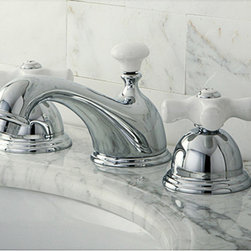 None - Restoration Porcelain Handles Chrome Widespread Bathroom Faucet - If your bathroom is looking worn, begin your update by refreshing the sink area with this chrome bathroom faucet. The faucets shiny chrome finish and double white-porcelain cross handles complete a restoration look that you will be proud to display.