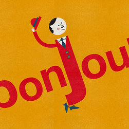 Bonjour Print by Cosas Mínimas - This could be for a quirky or retro/mod nursery. I love that mustard color.