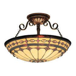 ELK Lighting - ELK Lighting 641 Diamond Ring Three-Light Semi-Flush Ceiling Fixture - This Forever Lasting Collection Fits Perfectly In Just About Every D�cor.The Diamond Ring Pattern Features Oven-Bent Panels In Hues Of Honey And Amber Which Are Enhanced By An Exquisite Blend Of Neutral Toned Stones And Finished In A Stately Burnished Copper.Specifications: