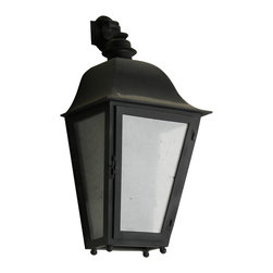 Custom Exterior Iron Lights - Classic and elegant design in this exterior hand forged iron half wall lantern with 1 light. Clear seeded glass, powder coat base and an additional hand applied color finish for that Old World look are elements that are always included in our exterior pieces.