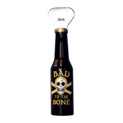 """Handcrafted Model Ships - Bad To The Bone Magnet Bottle Opener 6"""" - Decorative Bottle Opener - The pirate themed Bad To The Bone Magnet Bottle. Opener 6 inch is the perfect addition to anyone who has an affinity for the pirate lifestyle. This finely crafted bottle opener will open even the most difficult of bottles with ease. This bottle opener is fully function, has a magnet attached in the back of bottle opener, and is a great pirate gift for a coworker, classmate, friend, or family member."""