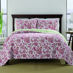None - Chloe 3-piece Paisley Quilt Set - Dress your bed in comfort and luxury with the Chloe cotton prewash reversible quilt set. Featuring a pretty paisley pattern in a multicolored finish,this set also includes two shams to complete the look. Machine washable for easy care and repeated use.