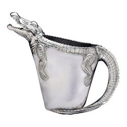 Arthur Court - Alligator Pitcher - Pour it on at your next party, reptile style! This aluminum alligator pitcher — a testament to your unique eye for beautiful, functional objects — will spark conversations over every beverage.