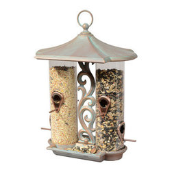 Whitehall Products LLC - Twin Tube Bird Feeder - Copper Verdi - Functional and Elegant the Whitehall Twin Tube Feeder serves duo purpose providing 2 separate feeding silos to allow for different bird seed to attract a greater variety of feathered friends to your feeder. The feeder fills easily by removing the finial top and roof to reveal the opening of each tube. Simply fill the tubes with your preferred seed, replace the roof and screw on the finial ring.