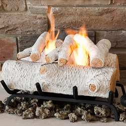 Real Flame - Real Flame Birch 18-inch Convert-To-Gel Log Set - Have all the look and feel of a traditional fireplace fire without the soot and smoke using these Real Flame faux fireplace logs. The logs are made from cast concrete with a hand-painted birch finish,and come with a metal grate and pile of lava rock.