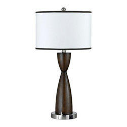 CAL Lighting - Espresso Faux Wood Hourglass Table Lamp by Universal Lighting and Decor - 60WX2,2 BASE ROCKER SWITCH,1 OUTLET