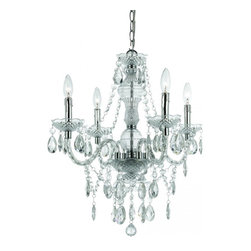 AF Lighting - Plastic 4-Light Mini Chandelier in Clear Plastic - Plastic 4 Light Mini Chandelier in clear cut plastic, Hand Polished Clear Plastic 4-60 Watt candle base bulb, Swag Kit included, Simple Assembly Required, Due to hand crafting no 2 plastic chandeliers are alike, UL Listed.