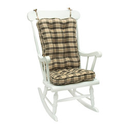 None - Green Plaid Standard Rocking Chair Cushion - Keep your grandmother as comfortable as she can be by giving her this thick rocking chair cushion. She will be able to sit comfortably and rock for hours on end without feeling any pain that would have come from sitting on the wooden surface.