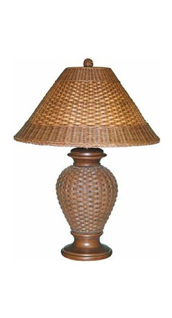 Papila Design - Tropical Wicker Dark Tea Table Lamp with Dark Tea Wicker Shade - -Looks and feels like wicker  -Material: Resin  -Shade Color: Dark Tea  -Shade Shape: Round Flat  -Shade Material: Wicker, Lining Inside Papila Design - RT801-DT