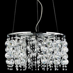 Eurofase - Galassia Suspension by Eurofase - The Eurofase Galassia Suspension conveys sumptuous and elegant radiance to a room with its magnificent strands of crystal and its crisp illumination created by halogen lamping. The Galassia Suspension features Asfour Crystal accented by halogen lamps located at the tips of slender metal arms located within the crystal strands.Based in Toronto, Canada, Eurofase has been presenting artful and innovative illumination since 1989. They continually promote the use of cost-saving lighting technologies, including LED, halogen and compact fluorescent, in an effort to provide for the lighting needs of an expanding energy efficient culture.The Eurofase Galassia Suspension is available with the following:Included Features: